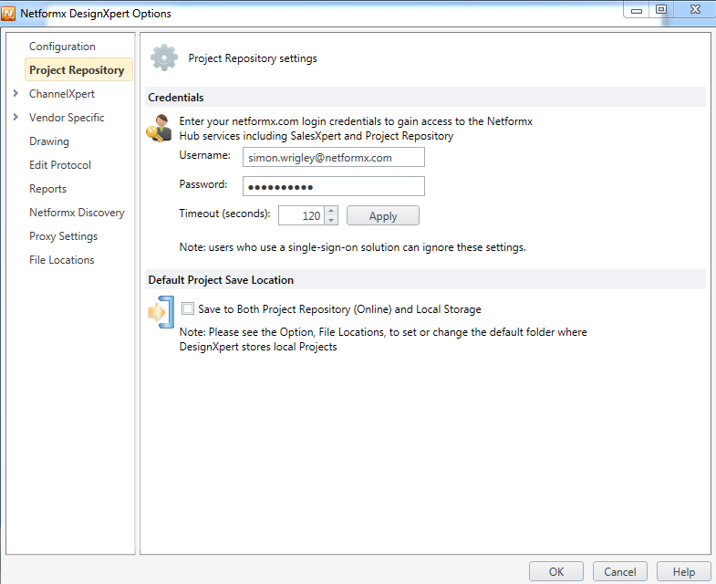 Entering in your Project Repository user credentials in